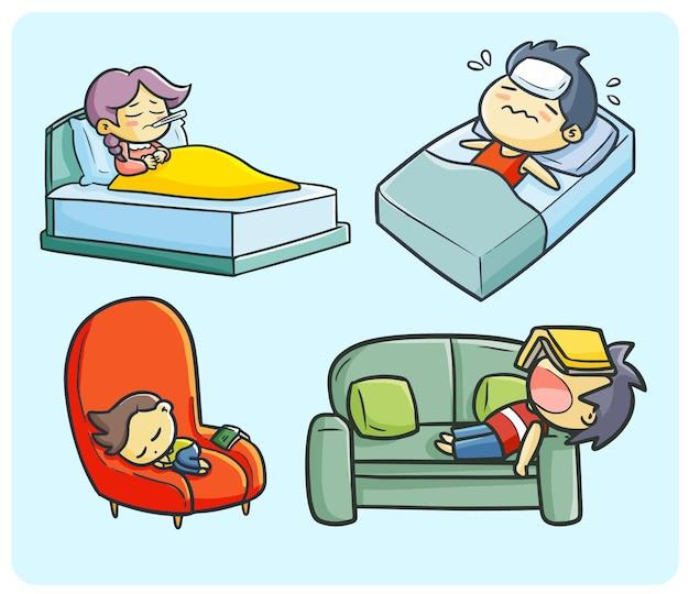 Meisje en jongens vallen in slaap vanwege vermoeidheid en ziek in eenvoudige doodle-stijl