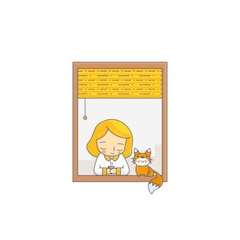 Meisje en kat met venster karakter vectorillustratie