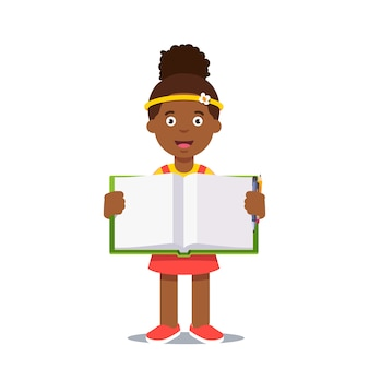 Meisje en open werkboek met handschrift