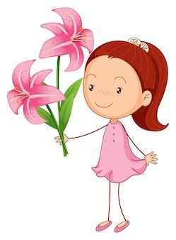 Meisje en roze lelies