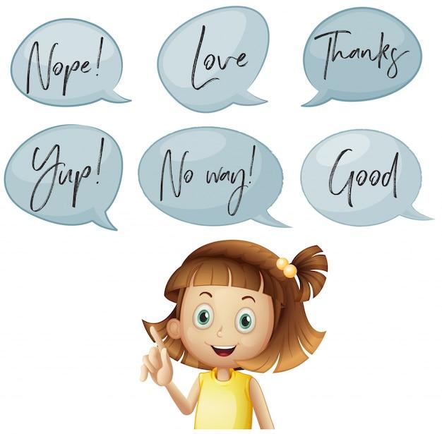 Meisje en verschillende tekstballonnen met woorden