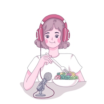 Meisje eten show cartoon afbeelding