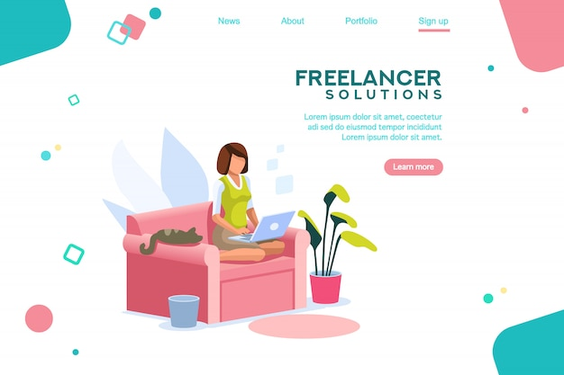 Meisje freelancer sjabloon homepage