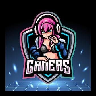 Meisje gamers mascotte esport logo ontwerp