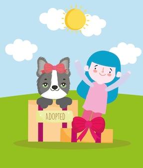 Meisje geadopteerd vrouwelijke hond