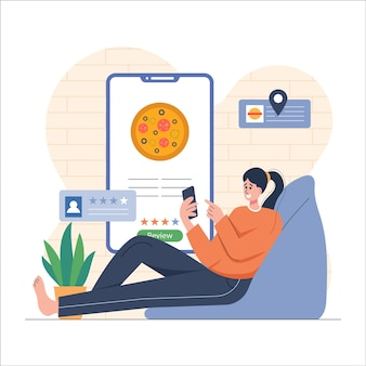 Meisje geeft food store review op mobiel