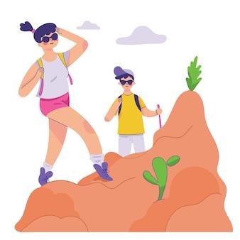 Meisje geniet van haar wandelen in de bergen, jongen en meisje wandelen en genieten van de natuur samen