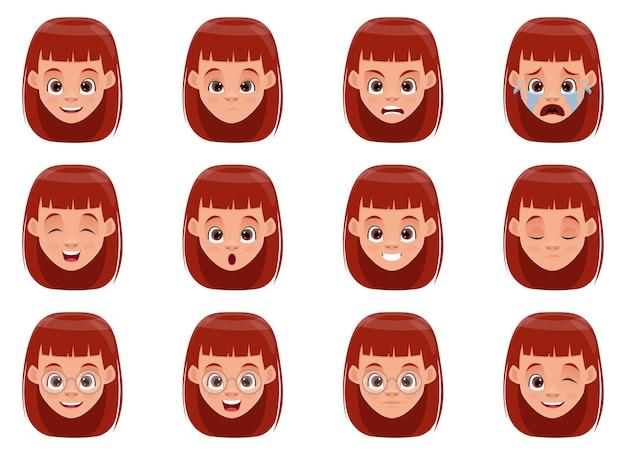 Meisje gezicht uitdrukkingen ontwerp illustratie geïsoleerd