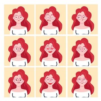 Meisje ginger avatars ontwerp