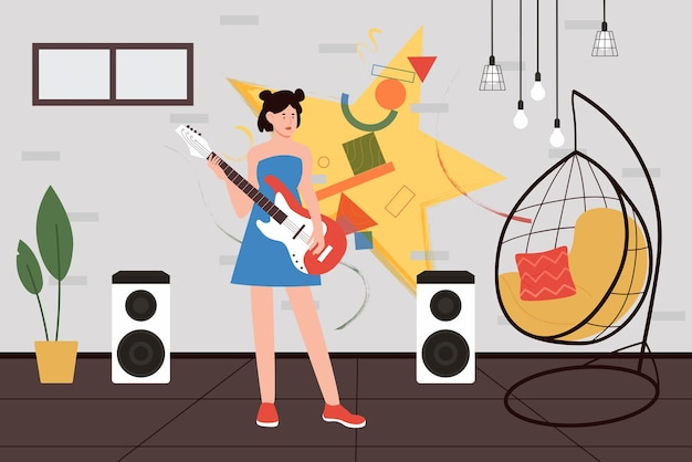 Meisje gitaar spelen muziek talent tiener kunstenaar gitarist met muziekinstrument staan