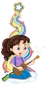 Meisje gitaarspelen met melodiesymbolen op regenbooggolf