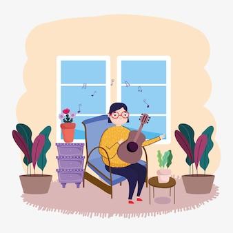 Meisje gitaarspelen