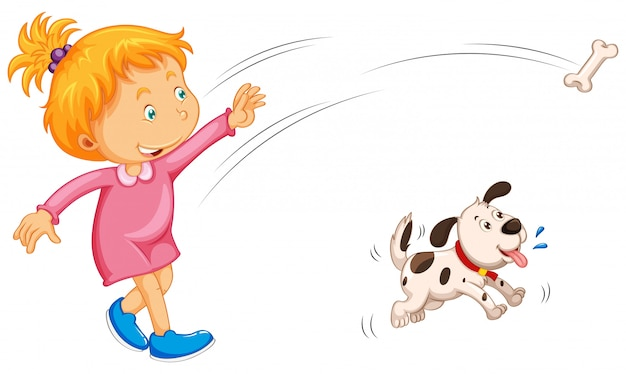 Meisje gooien bot en hond vangen
