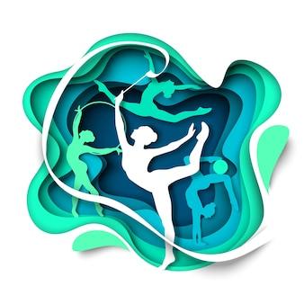 Meisje gymnast silhouetten dansen met bal hoepel lint vectorillustratie in papier kunststijl ritme...