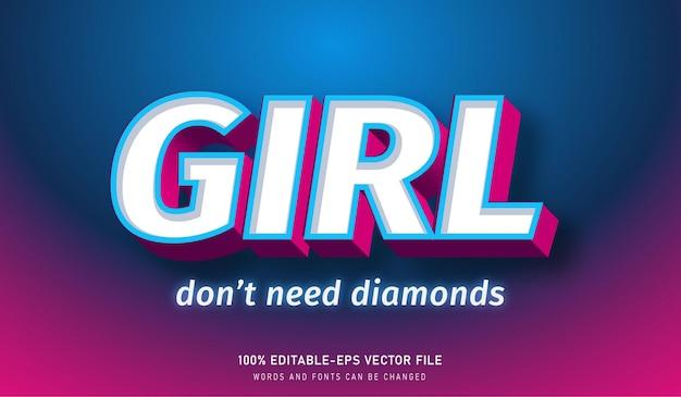Meisje heeft geen diamant teksteffect en bewerkbaar lettertype nodig