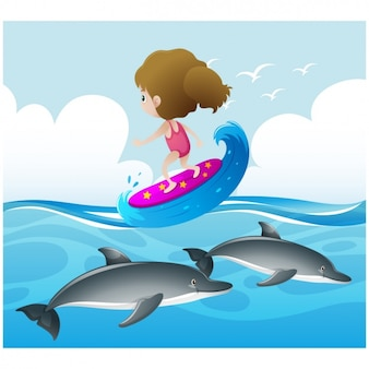Meisje het beoefenen van surfen op de zee