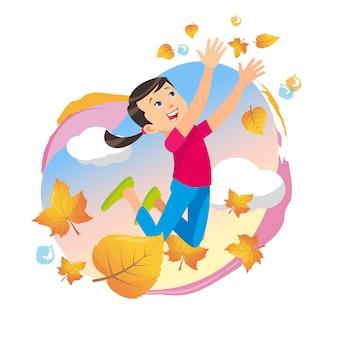 Meisje het spelen in het park die op bladeren werpen