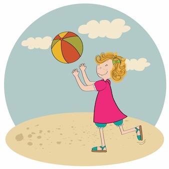 Meisje het spelen van bal op het strand