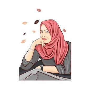 Meisje hijab in ofice