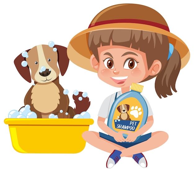 Meisje hond shampoo product met schattige hond op wit te houden