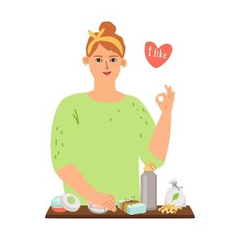 Meisje houdt van nul afval. jonge vrouw en cosmetica, herbruikbare fles en keukenapparatuur op tafel vectorconcept