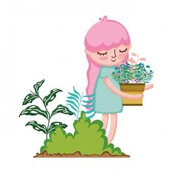 Meisje houseplant in het kamp opheffen