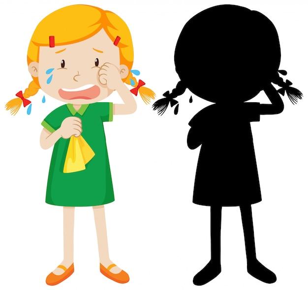 Meisje huilt om zijn silhouet