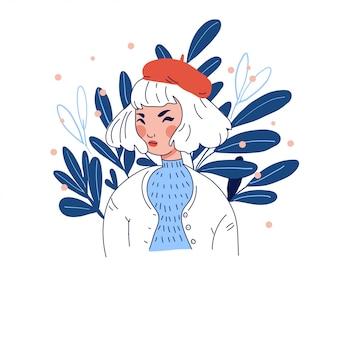 Meisje in baret op bloemenachtergrond