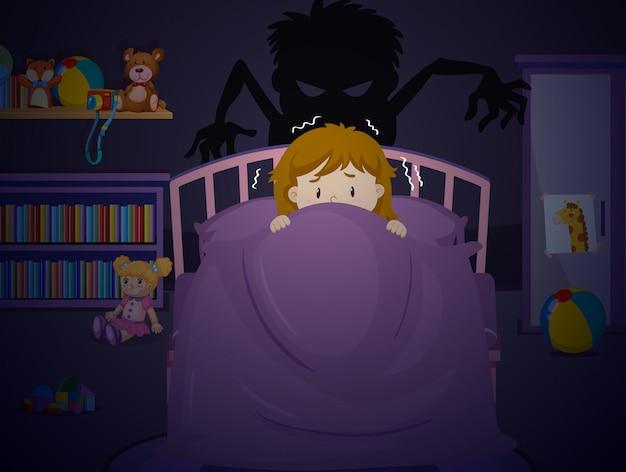 Meisje in bedroon met nachtmerrie