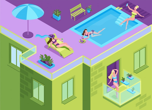Meisje in bikini die op het dak van woningbouw zonnebaadt