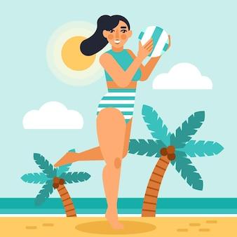 Meisje in bikini op het geïllustreerde strand