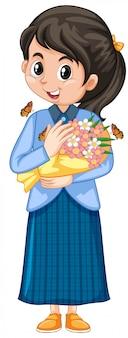 Meisje in blauwe jurk met mooie bloemen op witte achtergrond