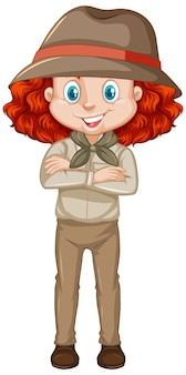 Meisje in bruin uniform op witte achtergrond