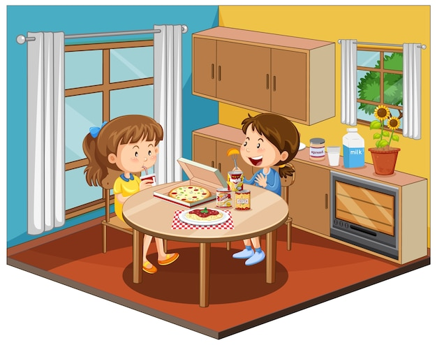 Meisje in de keukenruimte met meubels