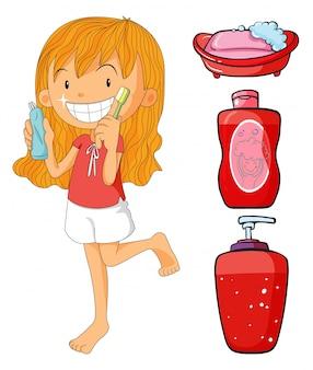 Meisje in de rode poetsen tanden illustratie
