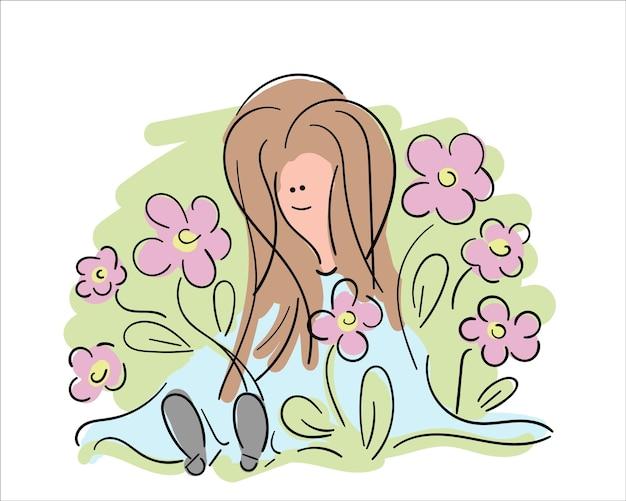 Meisje in de tuin, mooie hand getrokken vectorillustratie. gelukkige jonge vrouw rond bloesembloem, schetsontwerp.
