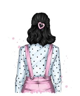 Meisje in een blouse en met mooi haar