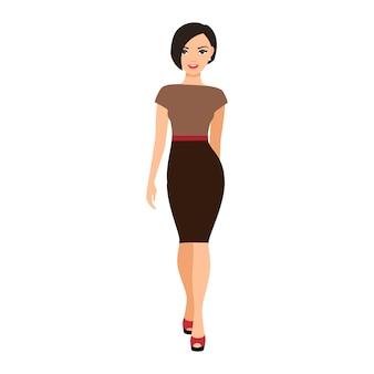 Meisje in een bruine jurk