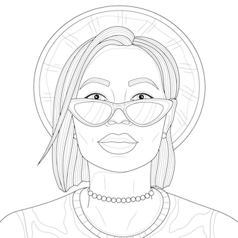Meisje in een hoed en bril. kleurboek anti-stressprogramma voor kinderen en volwassenen. illustratie geïsoleerd op een witte achtergrond. zwart-wit tekening