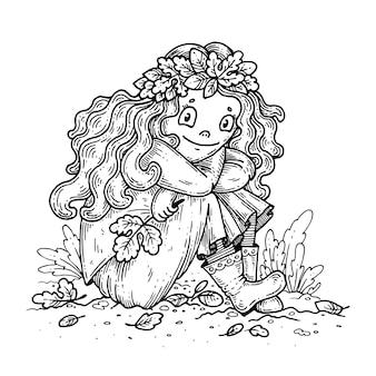 Meisje in een krans van herfstbladeren.