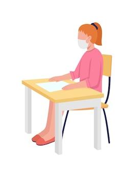 Meisje in gezichtsmasker bij klasse semi egale kleur vector teken schoolmeisje figuur