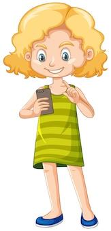 Meisje in groen overhemd die het karakter van het smartphonebeeldverhaal op witte achtergrond gebruiken