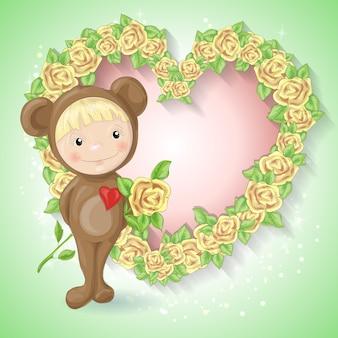Meisje in het pak van een teddybeer met een roos.