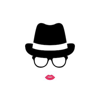 Meisje in hoed en bril.
