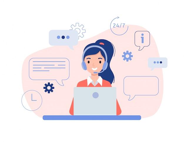 Meisje in hoofdtelefoons die achter laptop zitten. het concept van online hulp, training en advies aan klanten.
