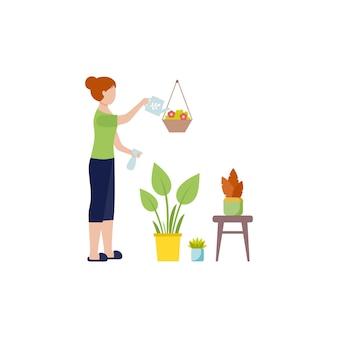Meisje in huiskleren die bloemen water geven. een huisvrouw zorgt voor planten in een bloempot. vector vrouwelijk karakter in vlakke stijl. het concept van zelfisolatie tijdens de coronaviruspandemie.