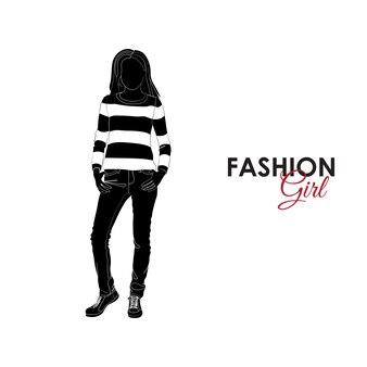 Meisje in jeans en trui