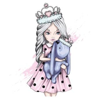 Meisje in jurk en kroon