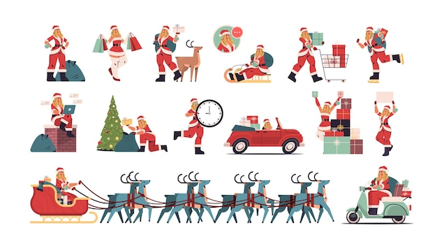 Meisje in kerstman kostuum instellen vrolijk kerstfeest en gelukkig nieuwjaar vakantie viering concept vrouwelijke stripfiguren collectie volledige lengte horizontale vectorillustratie instellen