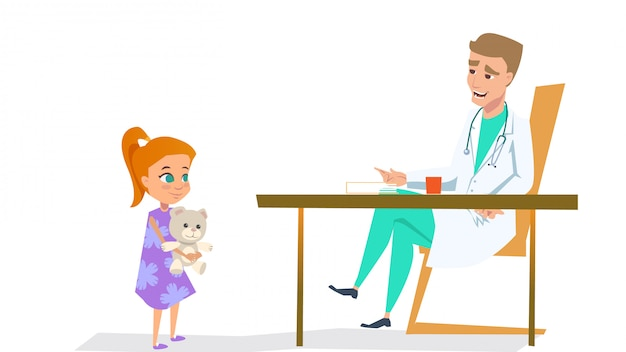 Meisje in kinderarts doctor office